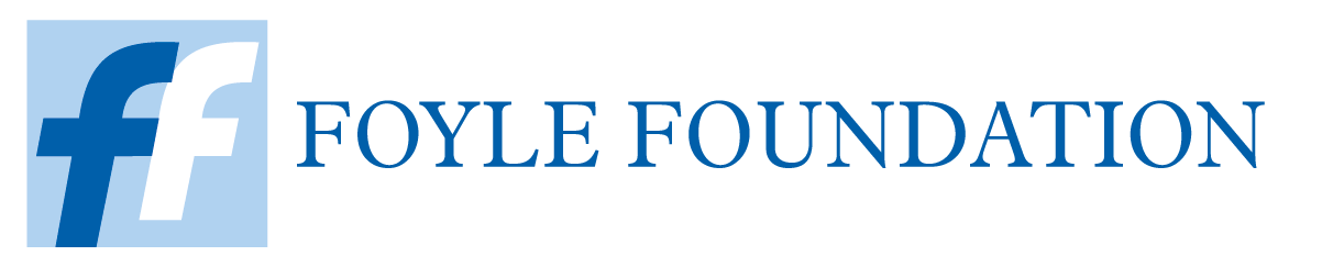 Foyle Foundation Logo, blue text and two blue letter f's together in a box