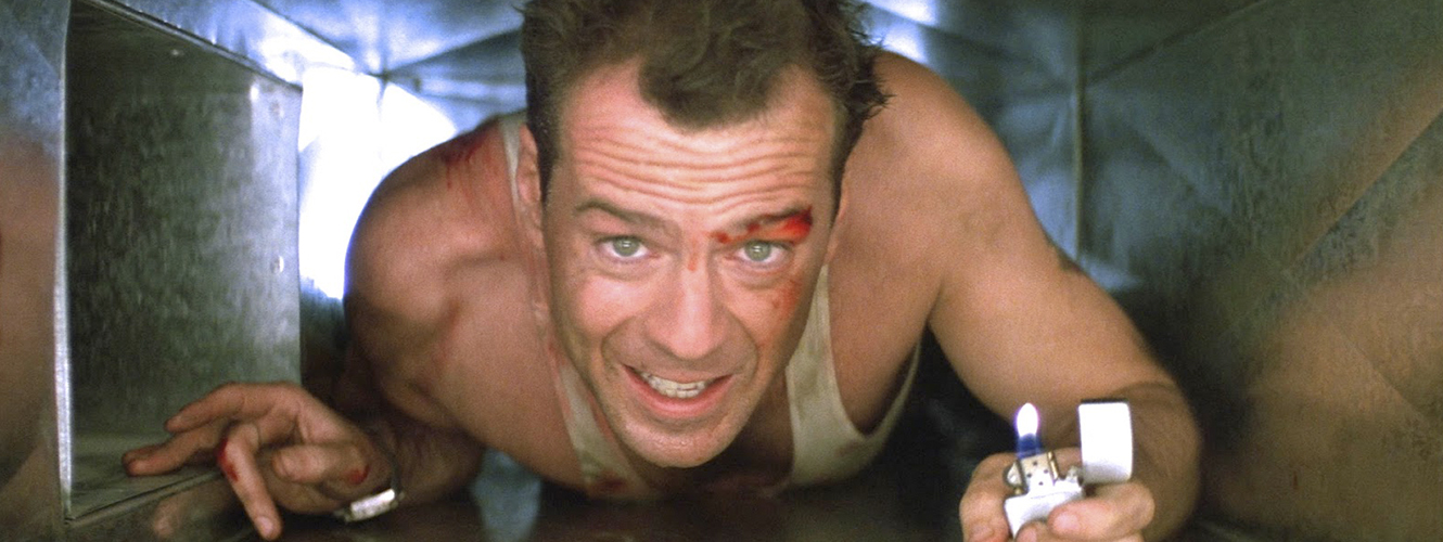 Bruce Willis in a ventilation shaft in Die Hard