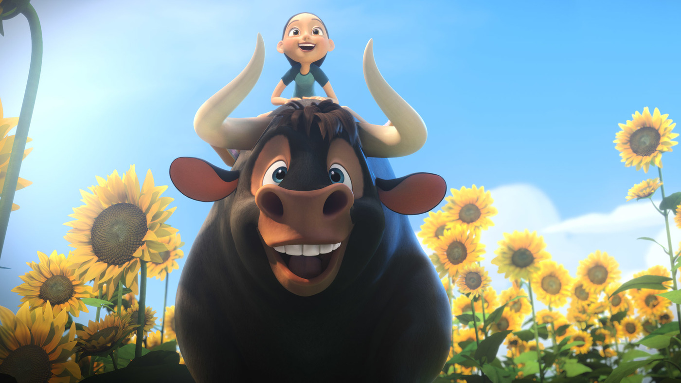 ferdinand the bull and a little girl laughing