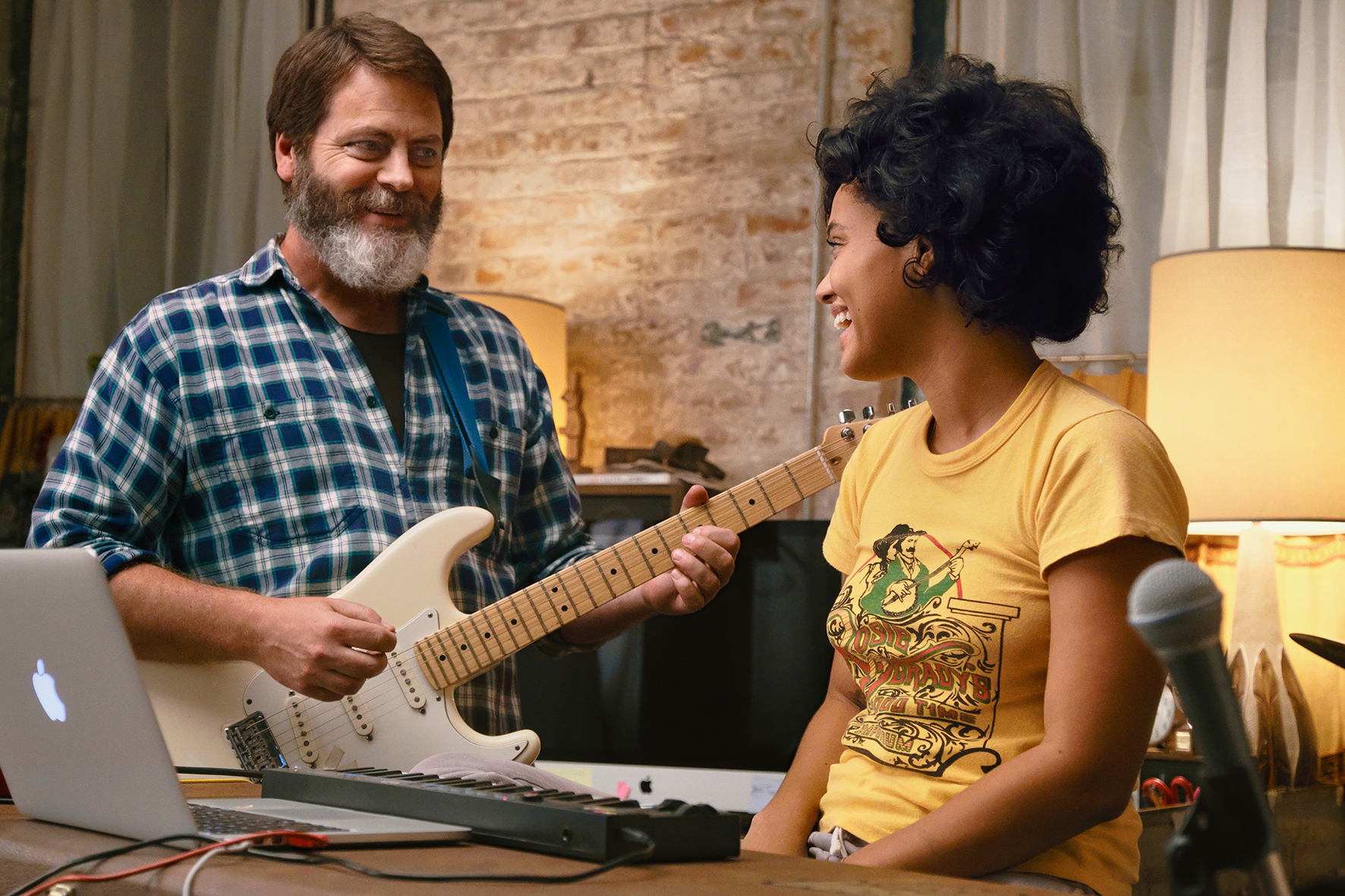 Nick Offerman and Kiersey Clemons play music in Hearts Beat Loud