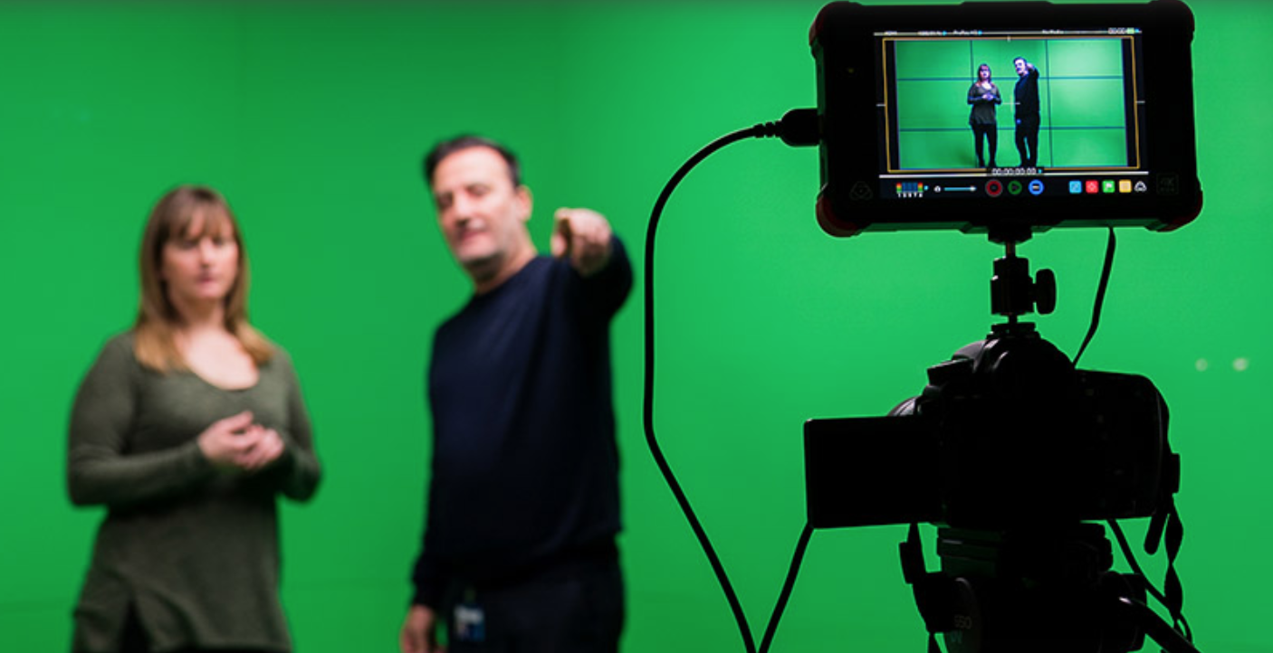 Two participants at a filmmaking workshop